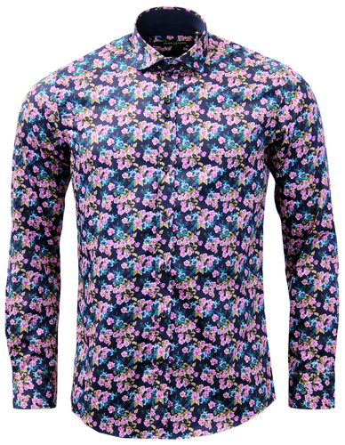 GUIDE LONDON Retro Sixties Mod Mens Floral Shirt
