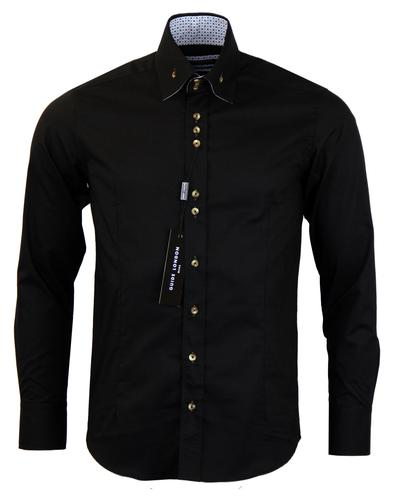 GUIDE LONDON 60s Mod Art Print Shirt In Black