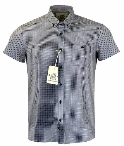 GUIDE LONDON RETRO GEOMETRIC DOT NAVY SHORT SLEEVE