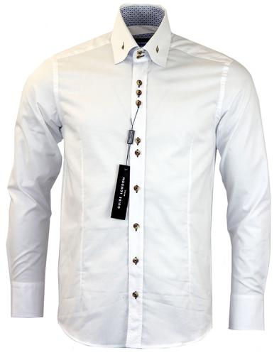 GUIDE LONDON 60s Mod Art Print Shirt In White