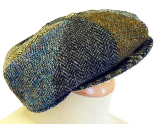 'Lewis' Retro Harris Tweed 60s Mod 8 Panel Hat