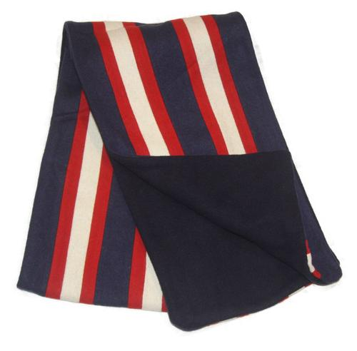 collegiate scarf retro 60s mod stripe scarves navy white