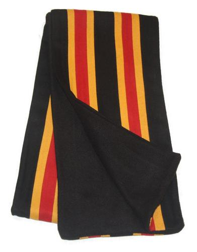 collegiate scarf retro 60s mod stripe scarves black gold