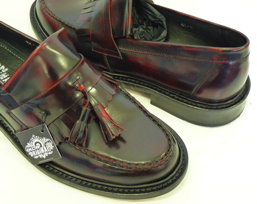 'Selecta' IKON Mens Retro Mod Bordo Tassel Loafers