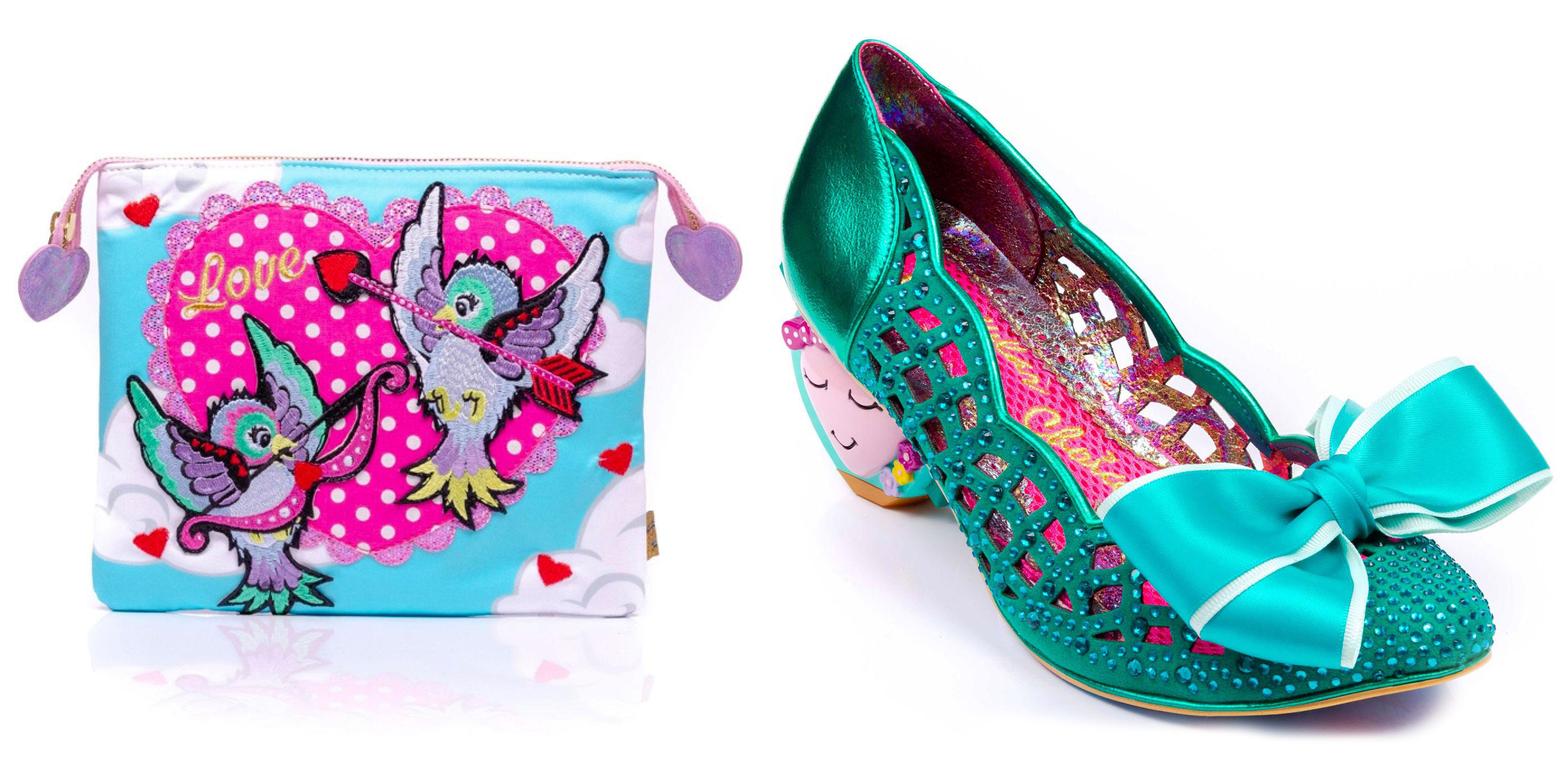 Cupid Love Bird pouch and Liefde heels from Irregular Choice