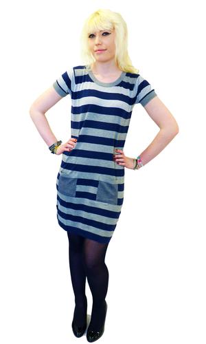 'Larna' - JOHN SMEDLEY Retro 60s Stripe Mod Dress