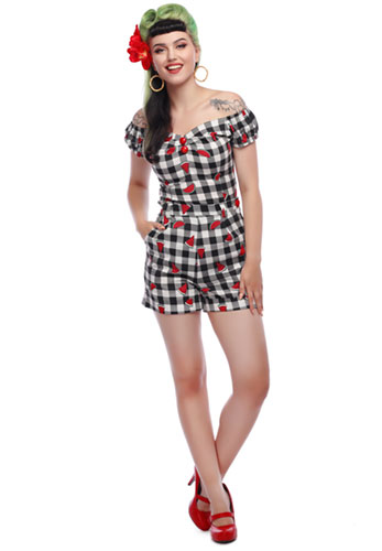 Collectif Retro Watermelon Gingham Shorts and Top