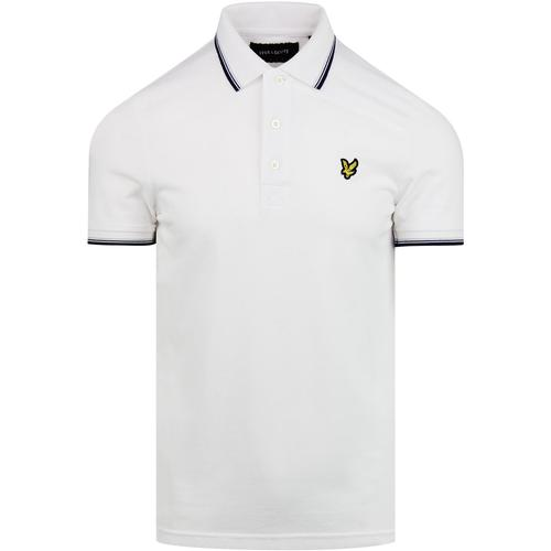 LYLE & SCOTT Retro Tipped Pique Polo Top (White)