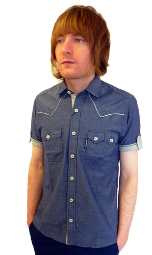 LAMBRETTA Mens Retro Chambray Jersey Trim Shirt