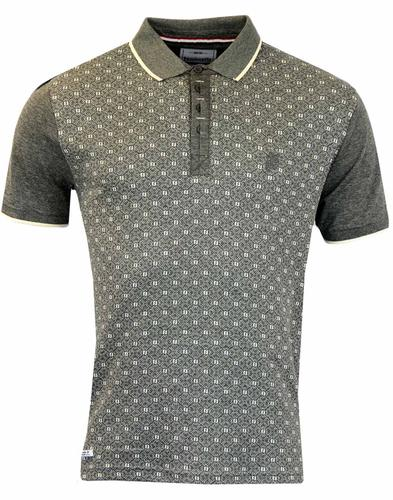 LAMBRETTA RETRO JACQUARD PANEL POLO GREY