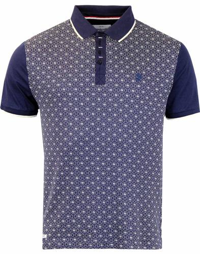 LAMBRETTA RETRO JACQUARD PANEL POLO NAVY