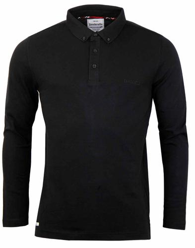 LAMBRETTA RETRO LONG SLEEVE PIQUE POLO BLACK