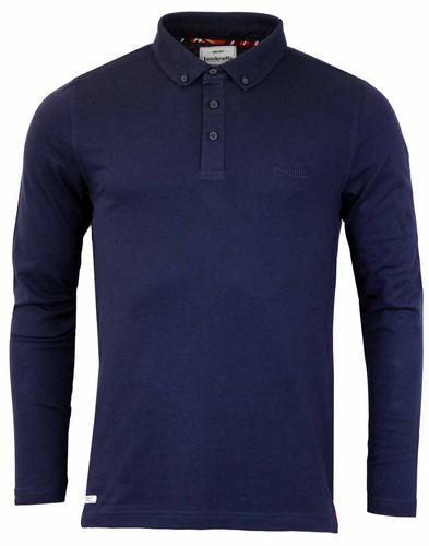 LAMBRETTA RETRO LONG SLEEVE PIQUE POLO NAVY