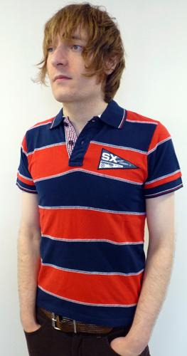 LAMBRETTA Mens Retro Mod Cut & Sew Stripe Polo (B)