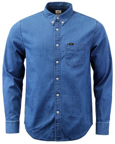 Lee Retro Mens Button Down Denim Look Shirt In Micro Blue