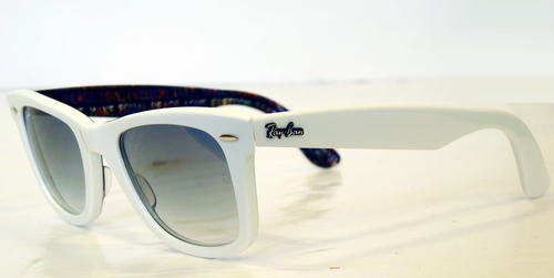 white ray ban clubmaster  Peace Love Wayfarer Sunglasses