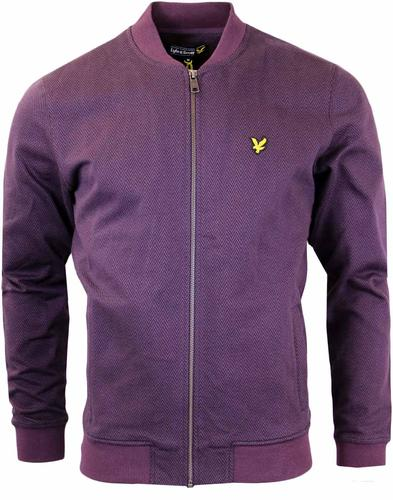 LYLE&SCOTT HERRINGBONE ZIP THROUGH SWEATER BOMBER