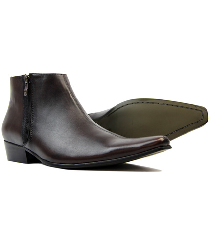 MADCAP ENGLAND CHELSEA BOOTS ZIP BROWN LEATHER