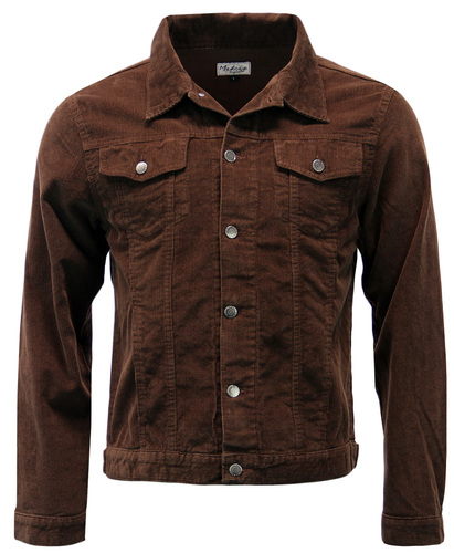 Madcap England Mens Slim Fit Mod 60s Cord Jacket in Brown