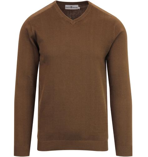 Madcap England redford v-neck jumper bison brown