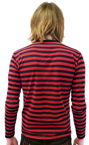 King Bee MADCAP Retro Mod Stripe Atom Neck Tee C
