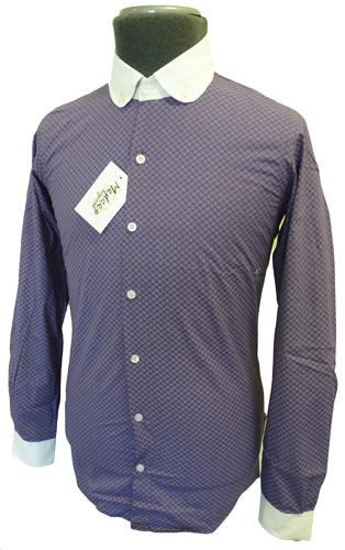 60 off 39 knightsbridge 39 mens retro sixties mod round for Round collar shirt men