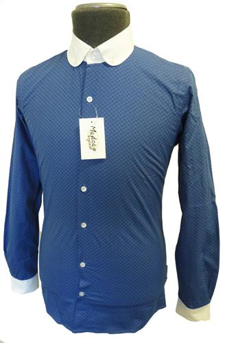 39 piccadilly 39 mens retro sixties mod round penny collar for Round collar shirt men