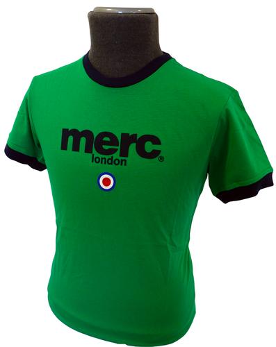 MERC 'BEACH' MENS RETRO LOGO & MOD TARGET INDIE RINGER TEE (Green)