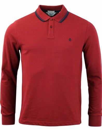 ORIGINAL PENGUIN DUO LONG SLEEVE POLO POMEGRANTE
