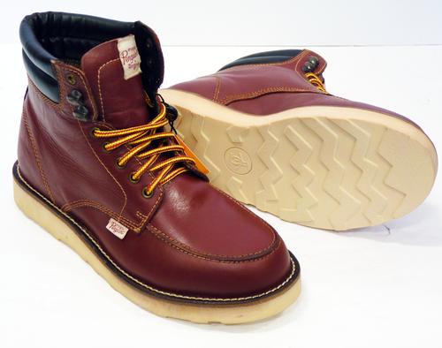 Mens Original Penguin Clondyke Leather Boots in Tan Brown//Black