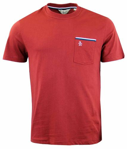 ORIGINAL PENGUIN TAPE TIPPED POCKET TEE POMEGRANAT