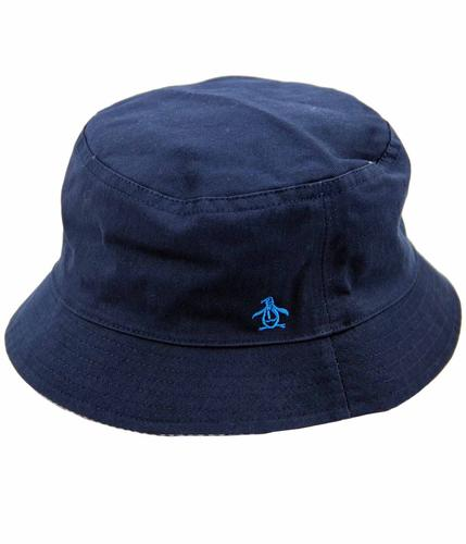 ORIGINAL PENGUIN 90s Indie Seersucker Reversible Bucket Hat Blue d3fbae5790d