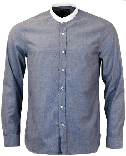 Edwin PETER WERTH Pin Dot Grandad Collar Shirt