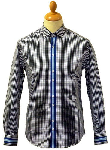 PETER WERTH Retro Gingham Mod Racing Stripe Shirt