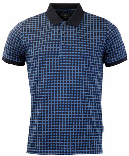 PETER WERTH QUEST POLKA DOT RETRO MOD POLO BLUE