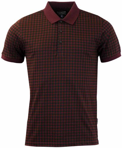 PETER WERTH QUEST POLKA DOT RETRO MOD POLO BURGUND