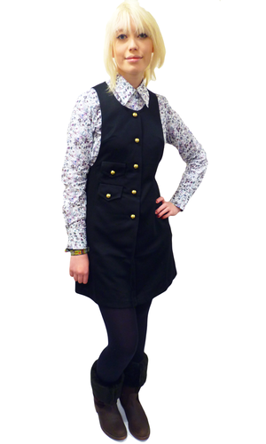 Retro Sixties Button Through Mod Pinafore Dress