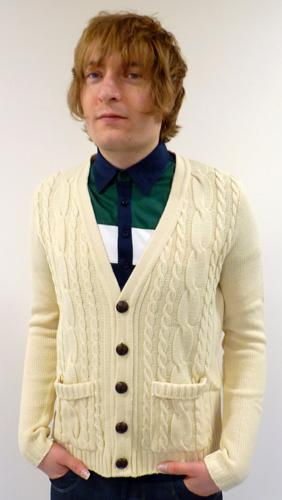 'Cable Cardy' - Mens Retro Cable Knit Cardigan