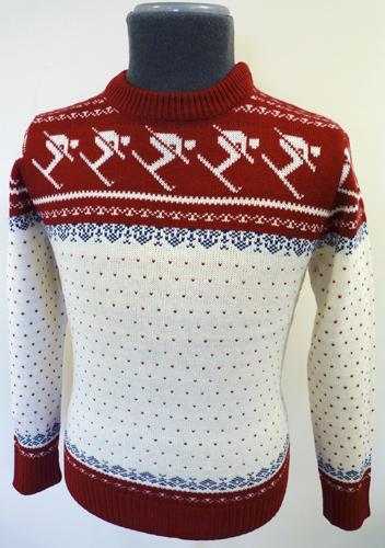 Mens Retro Seventies Indie Fair isle Christmas Ski Jumper