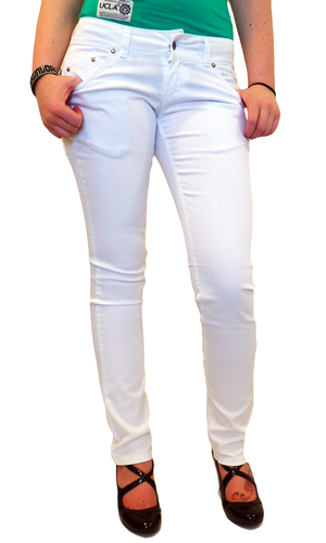 'White Drainpipes' - Denim Indie Skinny Jeans