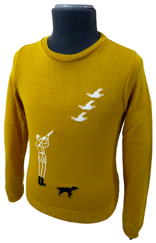 'Hunter' Retro Country Gent Intarsia Knit Jumper M