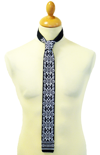 Fair Isle Star Tie Mens Retro Sixties Mod Knitted Indie Skinny Ties