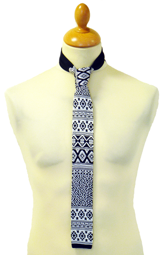 Classic Fair Isle Retro 60s Mod Knitted Silk Tie