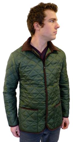 Retro Quilted Jacket in Green | Retro Mod Indie Jackets at Atom Retro