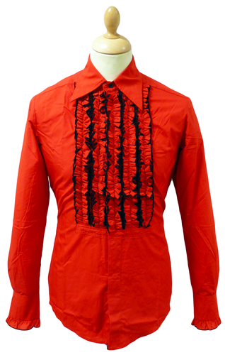 Sorry out of stock this is a vintage line which has for Red ruffled tuxedo shirt