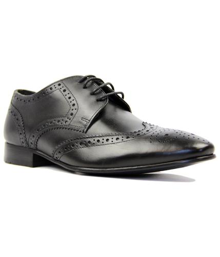 STATHAM BLACK LEATHER BROGUES RETRO