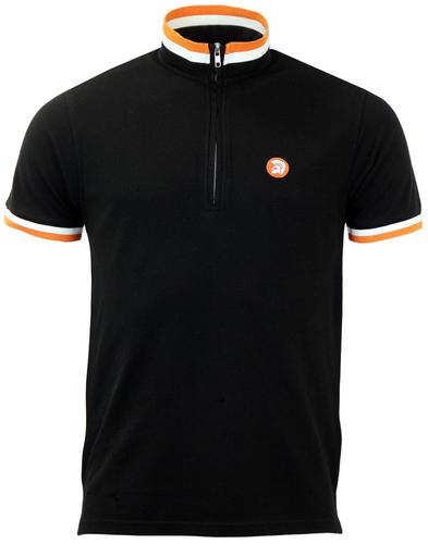 TROJAN RECORDS Retro Tri Tipped Pique Cycling Top
