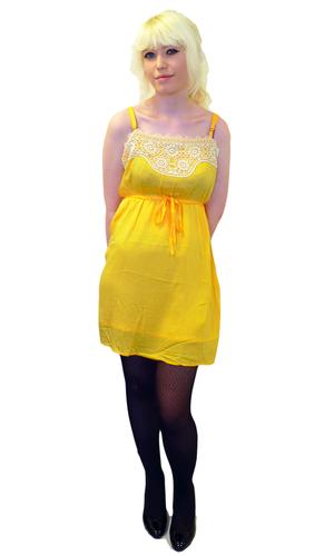 TULLE Retro 60s Crochet Mod 'Lemon' Parfait Dress