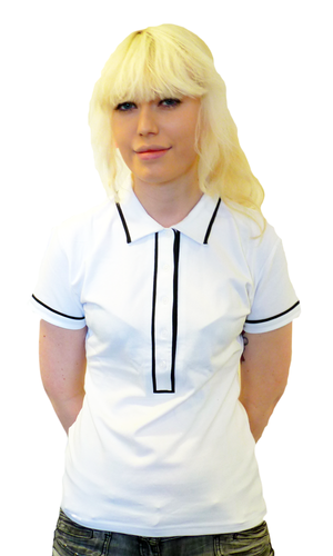 'Ronnie' - Womens Retro Mod Piped Polo Top (White)