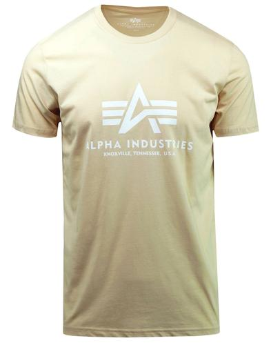 ALPHA INDUSTRIES Mens Retro Basic Logo Tee CARAMEL